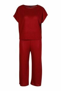Womens Rib Slouchy Top & Culotte Co-Ord Set - Red - 14, Red