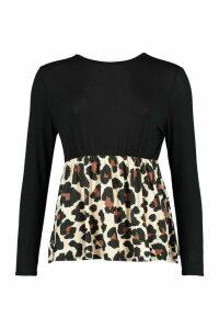 Womens Leopard Contrast Longsleeve Smock Top - black - 12, Black