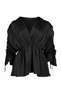Womens Satin Ruched Sleeve Shirt - Black - 12, Black