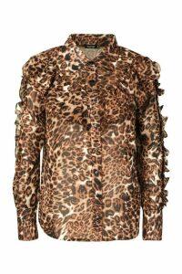 Leopard Ruffle Detail Shirt - Beige - 10, Beige