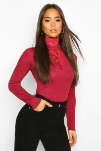 Womens Lace High Neck Ribbed Long Sleeve Top - red - 16, Red