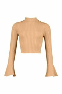 Womens Roll/Polo Neck Tie Back Top With Fluted Sleeves - Beige - 14, Beige