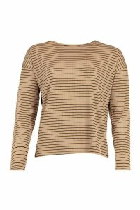 Womens Crew Neck Top In Striped Rib - beige - 14, Beige