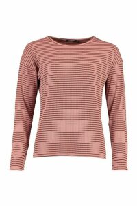 Womens Crew Neck Top In Striped Rib - Pink - 12, Pink
