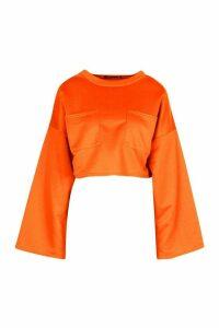 Womens Recycled Sweat Utility Crop Top - orange - 14, Orange