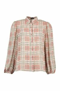 Womens Check Shirt - Pink - 14, Pink