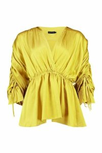 Womens Satin Ruched Sleeve Shirt - yellow - 14, Yellow