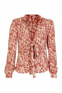 Womens Woven Printed Tie Front Blouse - red - 10, Red