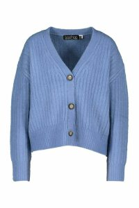 Womens Rib Knit Slouch Cardigan - Blue - M, Blue