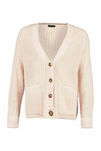 Womens Fisherman Knit Button Through Cardigan - Beige - L, Beige