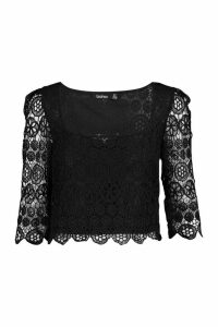 Womens Lace Square Neck 3/4 Sleeve Top - black - 14, Black