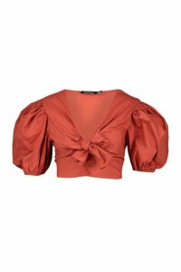 Womens Woven Puff Cap Sleeve Top - orange - 14, Orange
