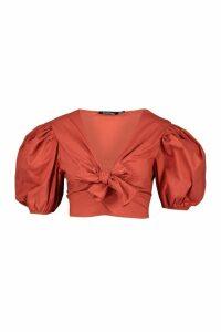 Womens Woven Puff Cap Sleeve Top - orange - 14, Orange