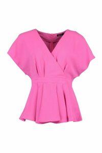 Womens Woven Cap Sleeve Pleat Detail Peplum Top - Pink - 8, Pink