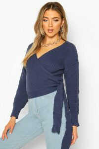 Womens Wrap Knitted Jumper - blue - M, Blue