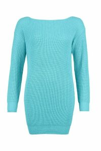 Womens Slash Neck Fisherman Jumper - Blue - S, Blue