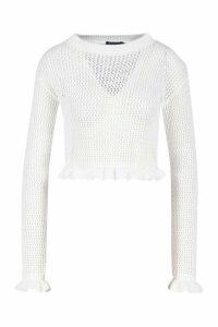 Womens Knitted Peplum Frill Edge Top - White - M, White