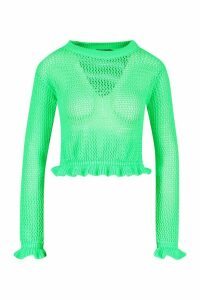 Womens Knitted Peplum Frill Edge Top - green - M, Green