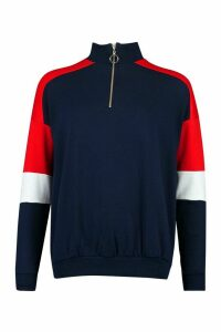 Womens Half Zip Colour Block Arm Hoodie - Navy - 14, Navy