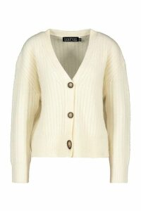 Womens Rib Knit Slouch Cardigan - white - M, White