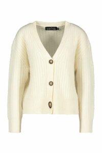 Womens Rib Knit Slouch Cardigan - white - L, White