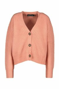 Womens Rib Knit Slouch Cardigan - Pink - M, Pink