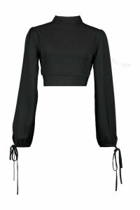 Womens Ruffle Back High Neck Blouse - black - 14, Black