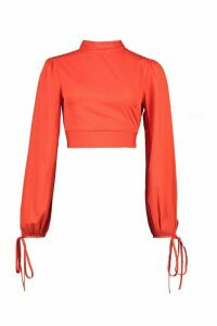 Womens Ruffle Back High Neck Blouse - red - 12, Red