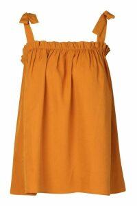 Womens Ruffle Tie Shoulder Cami Top - beige - 16, Beige