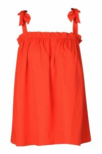Womens Ruffle Tie Shoulder Cami Top - red - 12, Red