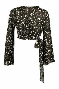 Womens Woven Printed Flared Sleeve Blouse - black - 8, Black