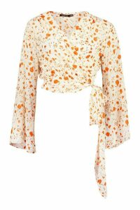 Womens Woven Printed Flared Sleeve Blouse - orange - 12, Orange