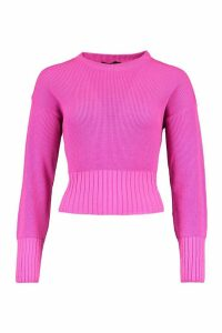 Womens Balloon Sleeve Rib Knit Jumper - pink - L, Pink