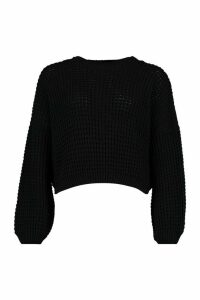 Womens Oversized Balloon Sleeve Waffle Stitch Jumper - black - M, Black