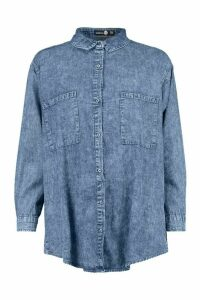 Womens Oversized Acid Wash Denim Shirt - blue - 14, Blue