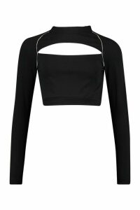 Womens High Neck Cut Out Reflective Piping Crop Top - black - 14, Black