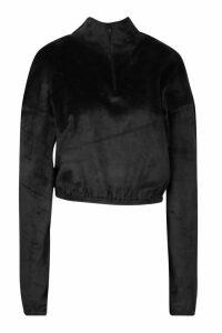 Womens Velour Effect Zip Up Sweat Top - black - 16, Black