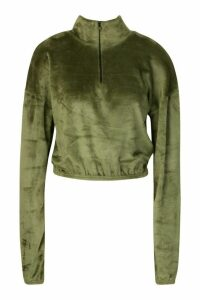 Womens Velour Effect Zip Up Sweat Top - green - 16, Green