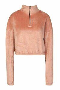 Womens Velour Effect Zip Up Sweat Top - pink - 16, Pink