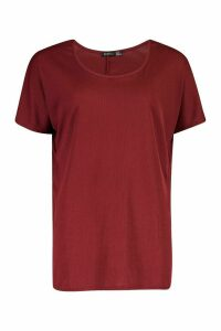 Womens Scoop Neck Ribbed Tunic Top - red - 16, Red