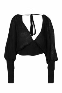 Womens Chiffon Pleated Open Back Top - black - 14, Black
