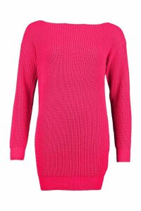 Womens Slash Neck Fisherman Jumper - Pink - M, Pink