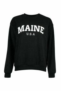 Womens Teddy Fleece Oversized Maine Slogan Sweat - black - M, Black