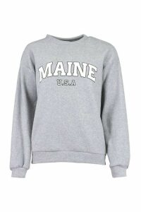 Womens Teddy Fleece Oversized Maine Slogan Sweat - Grey - Xl, Grey