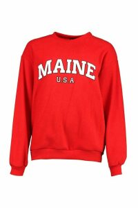 Womens Teddy Fleece Oversized Maine Slogan Sweat - Red - Xl, Red