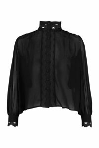 Womens Lace Trim Detail Blouson Shirt - black - 12, Black