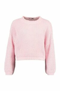 Womens Oversized Balloon Sleeve Waffle Stitch Jumper - Pink - L, Pink