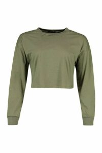 Womens Cotton Long Sleeve Cropped Top - Green - 14, Green