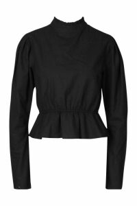 Womens Poplin Puff Sleeve Cotton Cropped Blouse - black - 16, Black