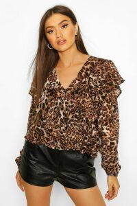 Womens Leopard Ruffle Peplum Blouse - beige - 14, Beige